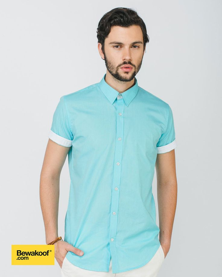 Bewakoof - Mint Green Slim Fit Half sleeve shirt  INR 795 at Bewakoof.com