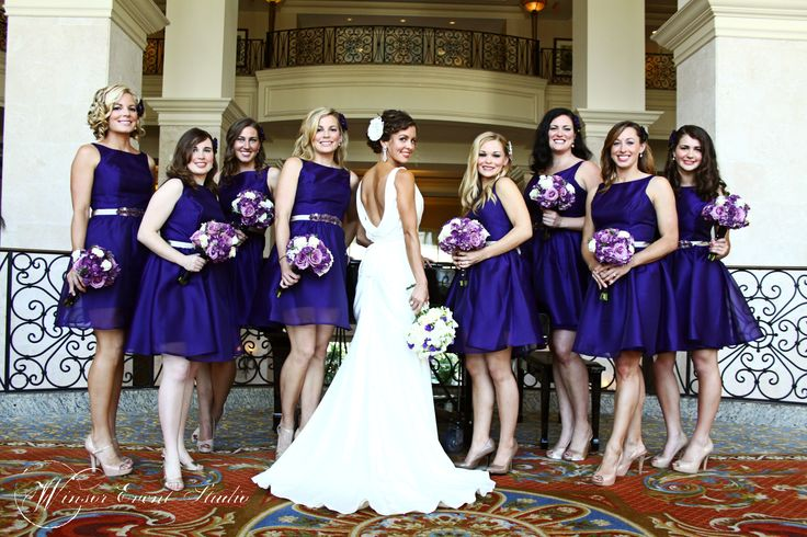 Gorgeous bridesmaids in grape organza cocktail dresses with silver beaded belts by Noir/Lazaro