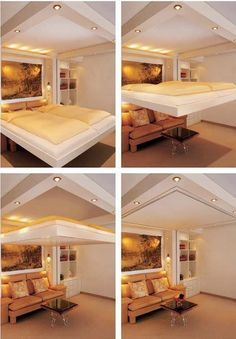 """Murphy bed"" except it doesn't fold up to the wall; it remains folded out (the plane of the sleeping surface parallel to the ceiling) and travels on tracks up the wall-- so when not in use, the bed is stored in the ceiling."
