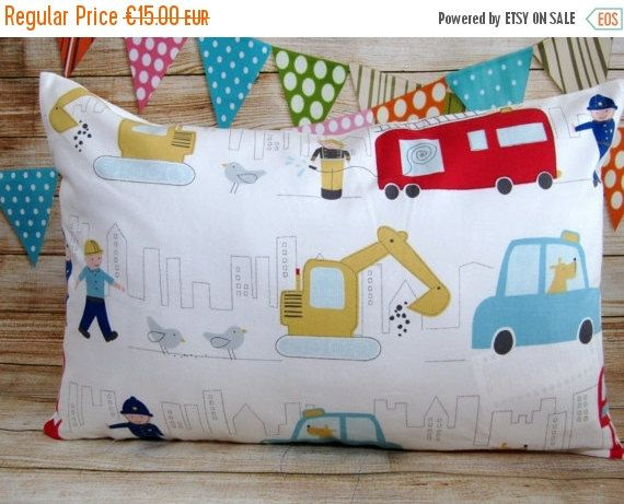 "This Fire Truck cushion cover is perfect for your little ones and specially designed for children bedding, kids rooms or nursery decor.     Important:    -  100% cotton,  -  zip closure,  -  16""x 24"" (40cm x60cm)  -  all seams overlocked  -  washable at 40 degrees    ******************************************************************************************  This listing is for the COVER ONLY, it does not come with the pillow insert inside. You can find pillows at any local craft store.  If…"