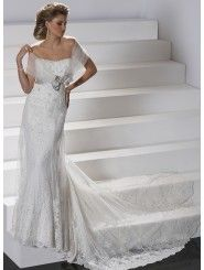 Embellished Lace and Satin Strapless Dipped Neckline Slim A-line Wedding Dress