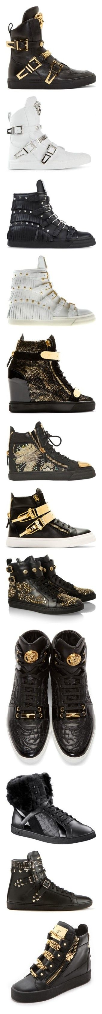 """""""Ultimate 'Designer Sneaker' Collection Pt. II"""" by dazzlingdondiva ❤ liked on Polyvore featuring shoes, sneakers, men, versace, black leather shoes, versace sneakers, leather hi top sneakers, black hi tops, leather high top sneakers and white leather sneakers"""