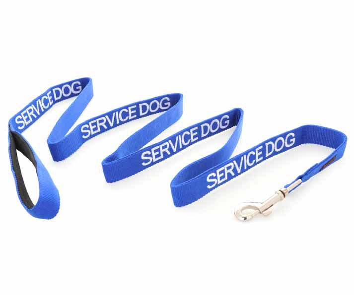 Blue SERVICE DOG long lead/leash is 180cm (6ft)   Luxury padded neoprene handle for extra comfort.