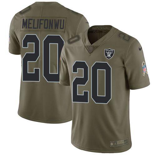 Nike Raiders #20 Obi Melifonwu Olive Men's Stitched NFL Limited 2017 Salute  To Service Jersey