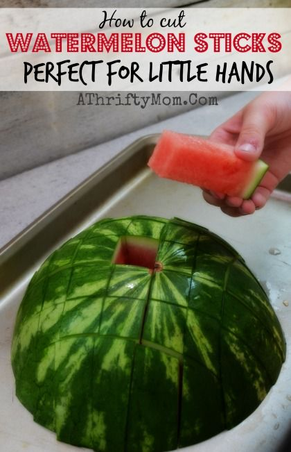 """Watermelon Sticks…. the perfect solution for bite sized watermelon on the go for little hands. Or if you are feeding a large group and need smaller portions. 1)First cut your watermelon into 3 sections. IF you have a smaller watermelon just cut it in half, no need for the middle section. But the larger ones work best when you cut into thirds. 2)Lay the ends down flat & cut into 1-1 1/2""""strips. Rotate melon & do same thing going other direction. Simple as that....instant WATERMELON STI..."""