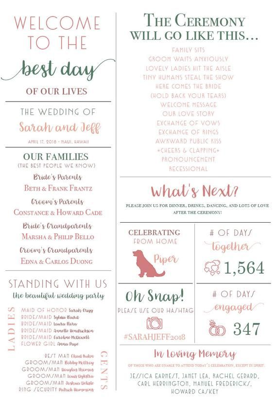 Fun Infographic Wedding Program Unique Wedding Program Fun Etsy Wedding Infographic Unique Wedding Programs Wedding Programs