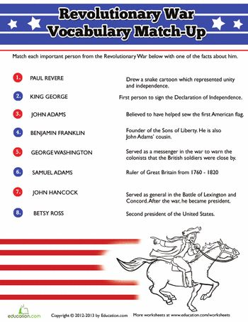 Worksheets: People of the Revolutionary War
