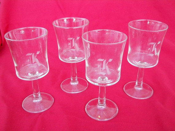 K custom wedding party glasses etched K set by PerfectlyGoodStuff, $18.00Wedding Parties, Glasses Etchings, Parties Glasses