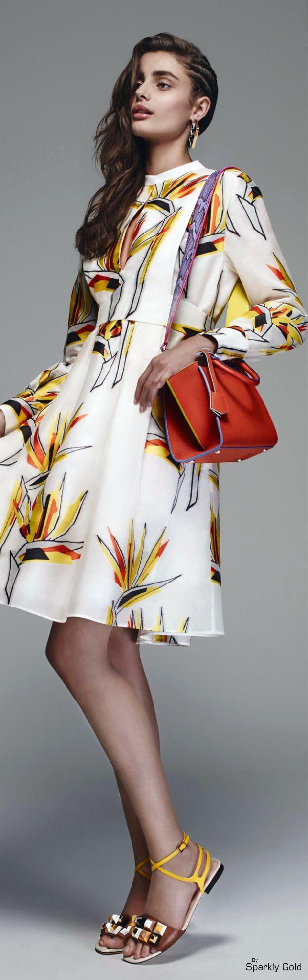 Fendi Resort 2016. Long sleeve floral print dress. take a red bag, wear the sandals,enjoy the sunshine.