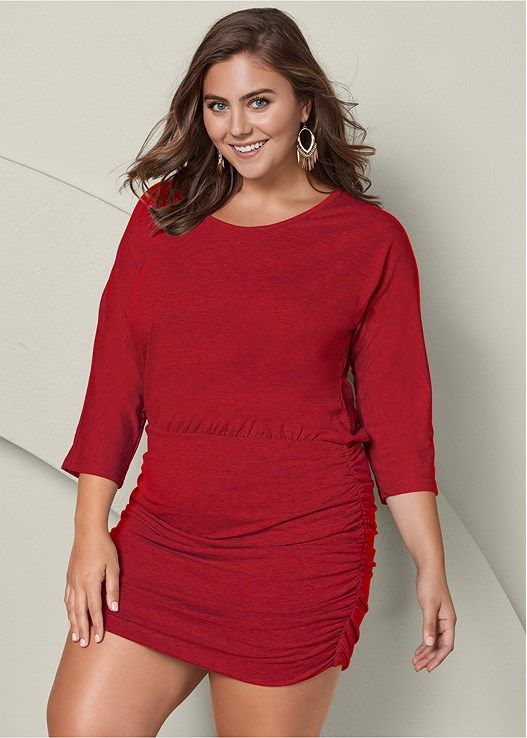 b38884321be Venus Women s Plus Size Ruched Detail Dress - Orange