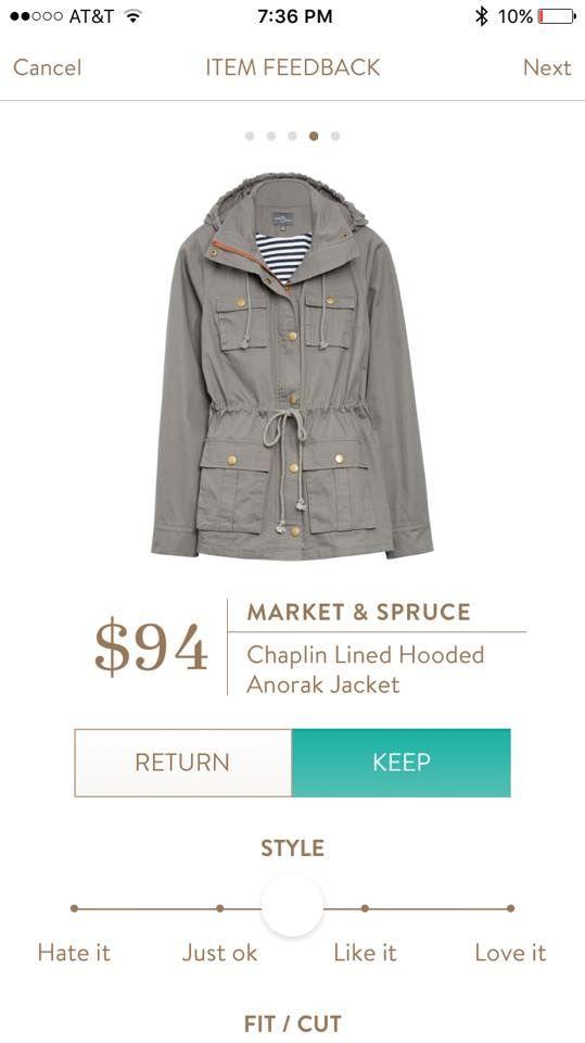 Stitch Fix - Market & Spruce Chaplin LIned Hooded Anorak Jacket - LOVE!! - size up so can wear thicker sweaters etc under.