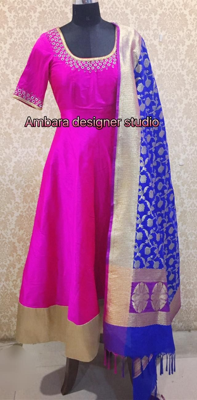 Beautiful Anarkali with Swarovski crystal embroidery teamed up with Beneras dupatta designed for one of our clientsFor orders/customisation Watsapp :9848671986 04 January 2017