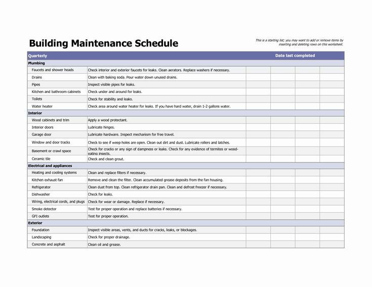 Facility Maintenance Checklist Template Awesome Facility ...
