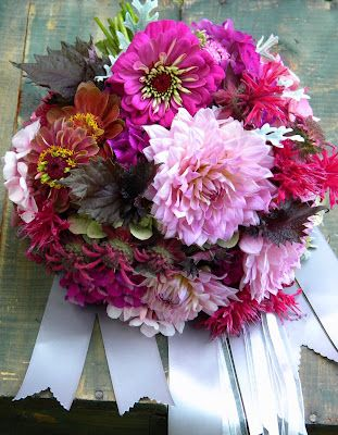 Wedding Flowers from Springwell: Summery Pink Dahlia and Zinnia Bouquet