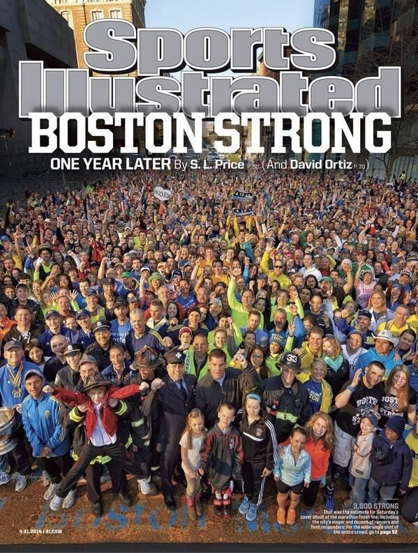 Sports Illustrated commemorated the one-year anniversary of the Boston Marathon bombing with a portrait of approximately 3,000 people gathered at the marathon's finish line on Boylston Street.