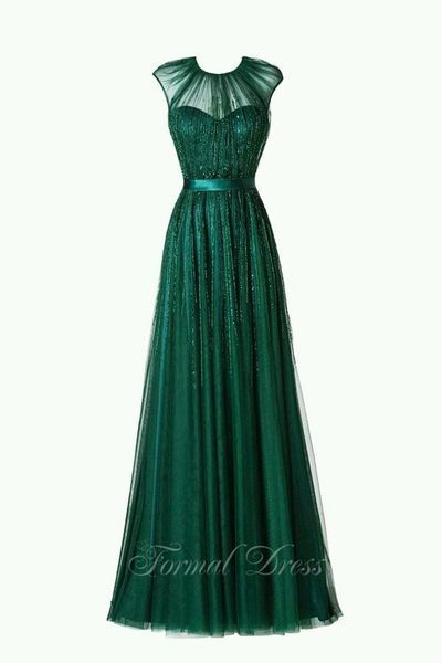 Green Round Neckline A-Line Long Dress