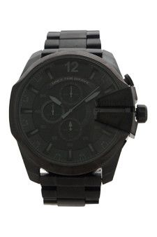 dz4355 chronograph mega chief black ion plated stainless steel bracelet watch by diesel -For Men