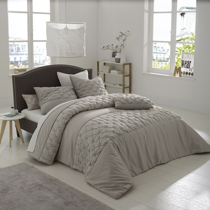 Khin Cotton Satin Quilted Bedspread GREY 250 x 270 RRP £194.00