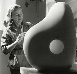 Barabara Hepworth carving in the Palais de Danse, 1961. Photograph by Rosemary Mathews