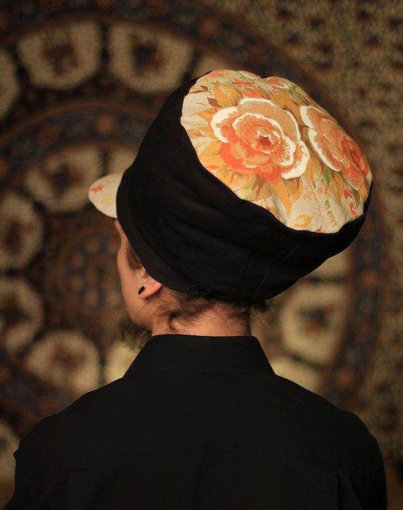 Dreadbag  black and floral design dreadlocks cap by WuSquared