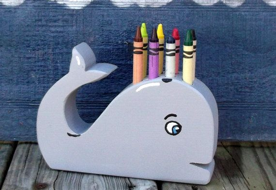 Whale Crayon Holder. Wooden kid's toys, Hand Made wood crafts for every one. Proudly hand made in the USA. Carolina Country Crafts on Etsy. $10.00