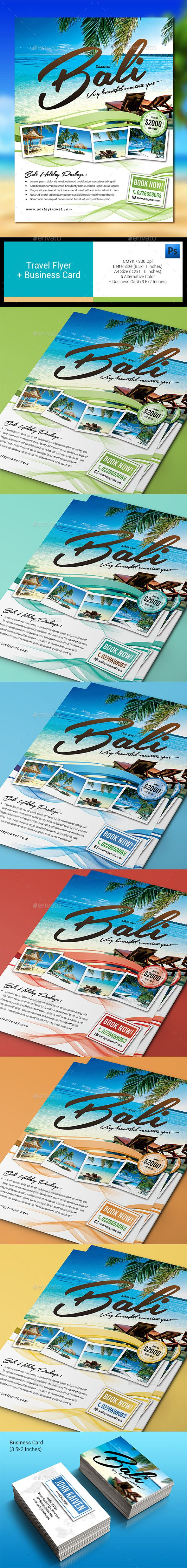Travel Flyer + Business Card Template PSD #design Download: http://graphicriver.net/item/travel-flyer-business-card/12999345?ref=ksioks