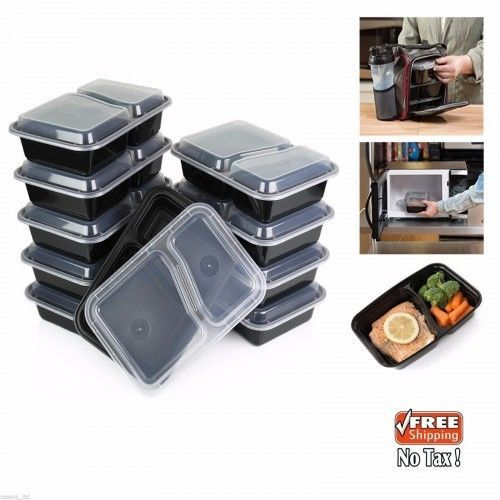 Plastic-Food-Containers-Microwave-Dishwasher-Safe-Compartment-Meal-Prep-10PacNew