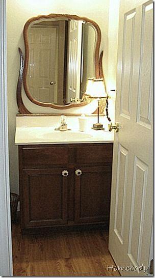 Nice use of antique dresser mirror.Dressers Tops Mirrors, Antique Dressers, Antique Mirrors, Bathroom Vanities, Dressers Mirrors, Antiques Mirrors, Repurpose Dresser Mirror, Antiques Dressers, Mirrors Repurposing