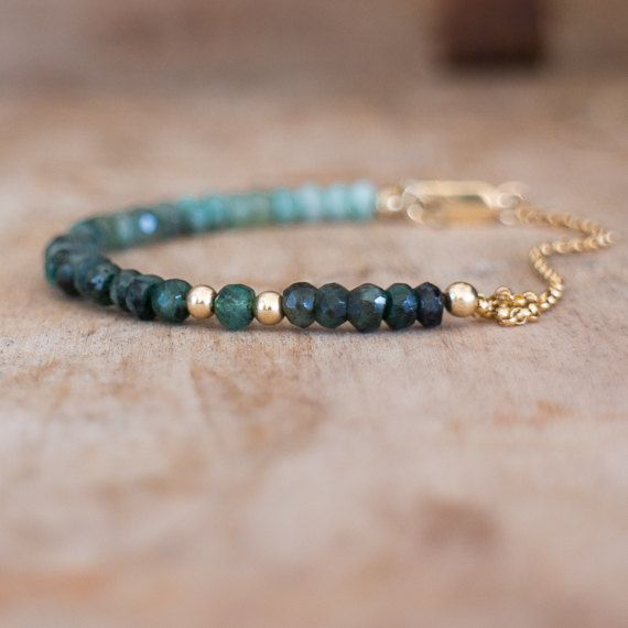 Raw Emerald Bracelet, May Birthstone, Natural Emerald Jewelry, Ombre Green Emerald Crystal Bracelet, Green Ombre Jewellery, Wife Gift