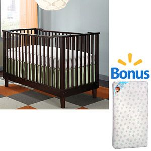 Storkcraft Santino 3-in-1 Fixed Side Convertible Crib (Your Choice of Finish) with Bonus Crib Mattress