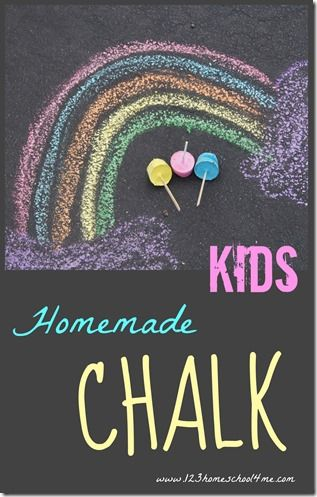 KIDS Homemade Chalk Recipe - easy to make, doesn't leave residue on your kids hands like store bough chalk does! Must-do summer activities for kids!
