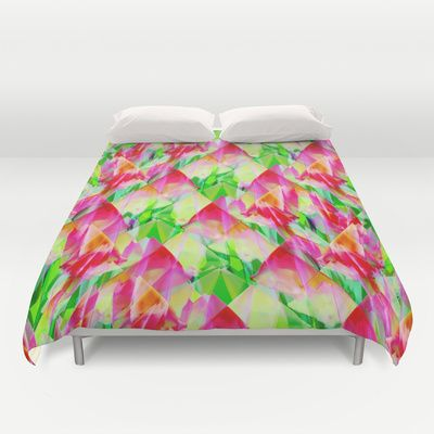 Tulip Fields #119 Duvet Cover by Gréta Thórsdóttir - $99.00 #floral #tulips #pattern #recycle #abstract #Genus #Tulipa #Liliaceae #bedroom