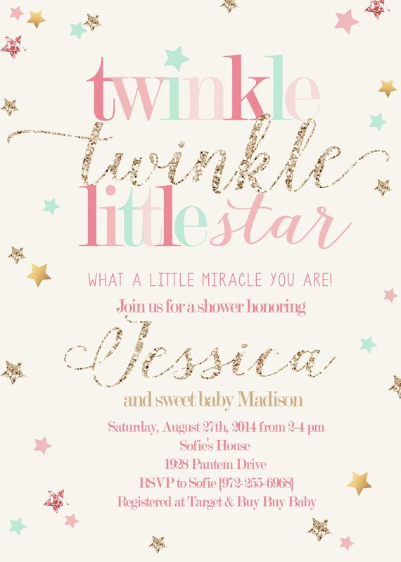 Twinkle Twinkle Little Star Girl Shower by RachellesPrintables                                                                                                                                                                                 More
