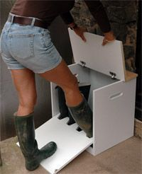 The Welly Boot Box – ingenious combination boot jack & door-side storage for two pairs of garden Wellys (Wellingtons) – or any other boots, I should think. I could see doubling the length to accommodate a family – Also serves as a convenient seating bench when fully closed. is creative …