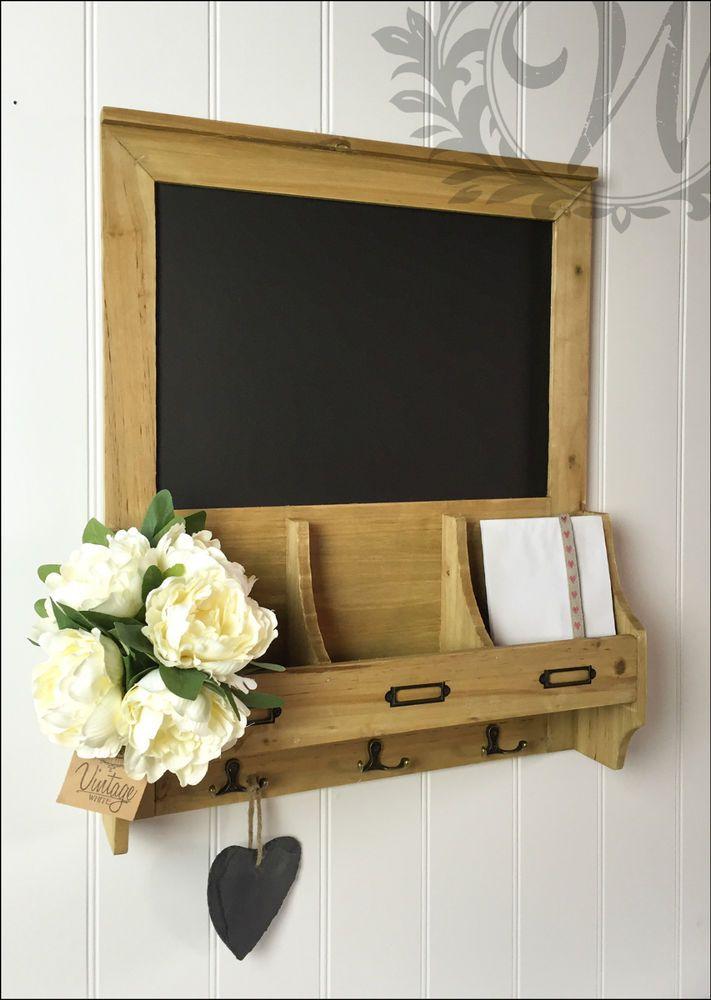 Vintage Blackboard Shabby Chic Memo Notice Wooden Chalk Board Hooks Storage  In Home, Furniture U0026