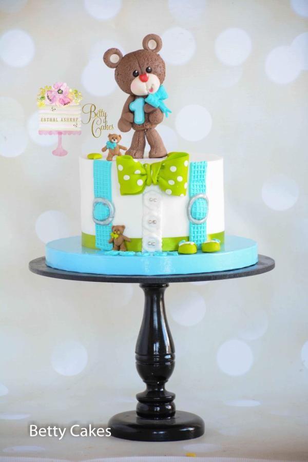 1st birthday Teddy Bear Cake  by BettyCakesEbthal