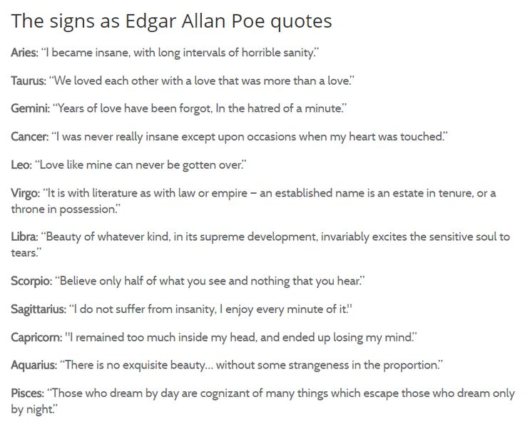Edgar Allen Poe quotes for the signs #astrology #thesigns #zodiac