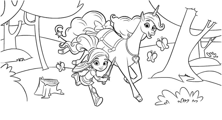 Nella The Princess Knight And Unicorn In Forest Coloring Pages For Free