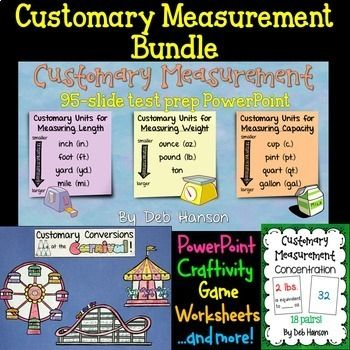 Customary Measurement: This bundle of customary measurement resources focuses on the U.S. customary measurements for length, weight, and capacity.   It includes: - a 95-slide interactive PowerPoint on U.S. Customary Units of  Measure (this includes a 7-page matching companion handout!) - an interactive notebook entry - 3 worksheets that match what was covered in the PowerPoint - 2 worksheets with conversion tables - a CRAFTIVITY  - a Concentration Game ...