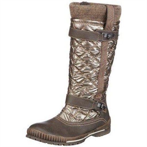 tamaris  taupe : bottes fourrées compensées femme femme tamaris z34tamaris014