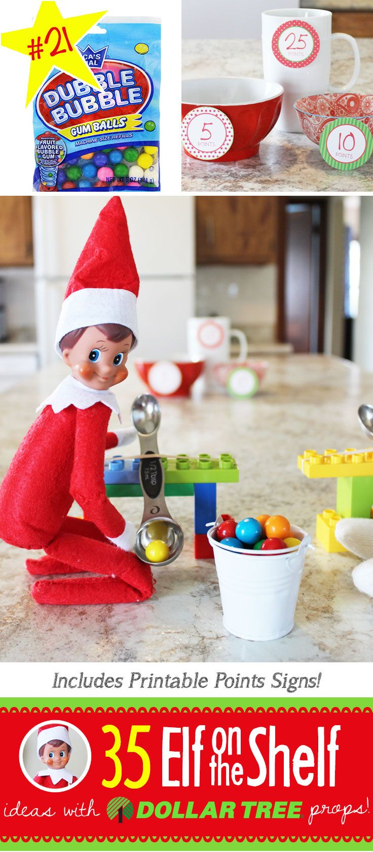 35 BRAND NEW Elf on the Shelf ideas for 2017! These fun, creative & EASY Elf on the Shelf ideas all include an item from the Dollar Tree!