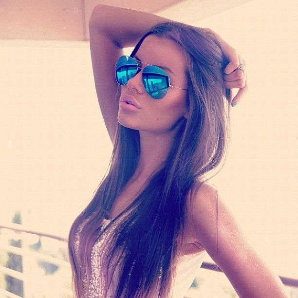 Completely opaque blue mirrored lens sunnies :)