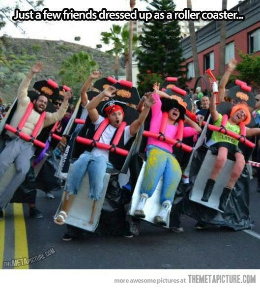 Just a few friends dressing up as a roller coaster. Y'know, a normal Tuesday... or great Halloween costume?