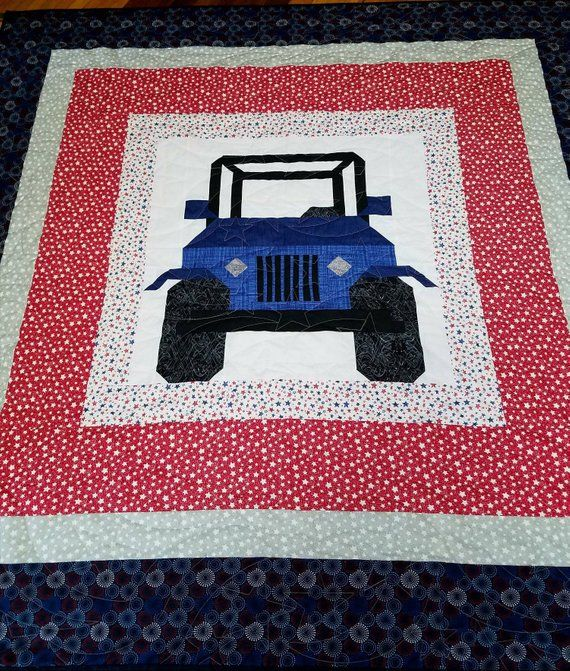 Blue Jeep Quilt Blanket Throw With Patriotic Borders Blue Jeep