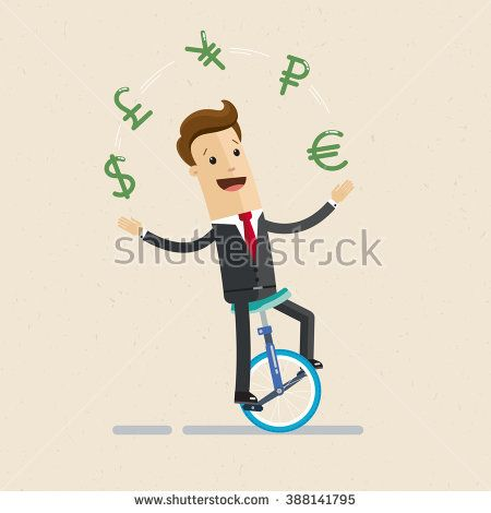 Manager or businessman rides a monocycle and juggles with signs of currencies. Icons of dollar, euro, ruble, yen, pound. Illustration, vector EPS 10