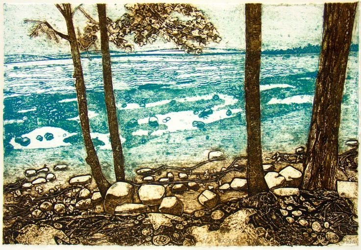 Artist: Cat Outram. Title: The Beach. Year: 2006. Description: collagraph prints