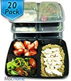 #10: [20 Pack] 3 Compartment Meal Prep Containers BPA Free Portion Control Bento Boxes (39 Oz.)