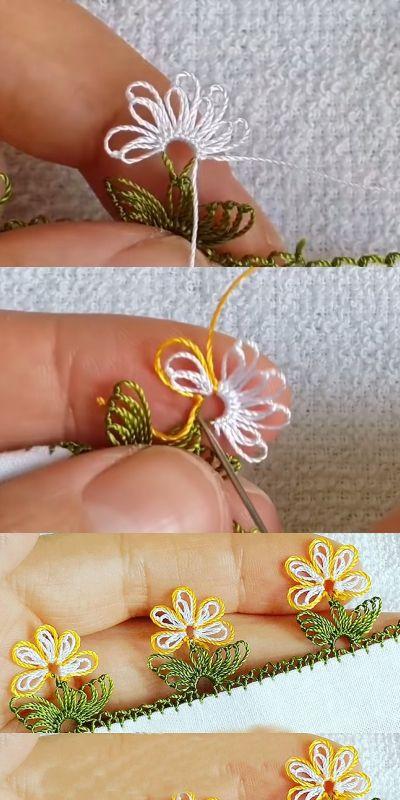 Çok Sipariş Alan Söz Yüzüğü Çiçekli Yapraklı İğne Oyası Modeli