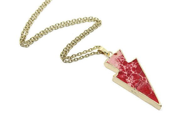 Arrowhead Agate Necklace - Red Agate Pendant - Agate Jewelry - Pendant Necklace for Women -Gold Chain Necklace