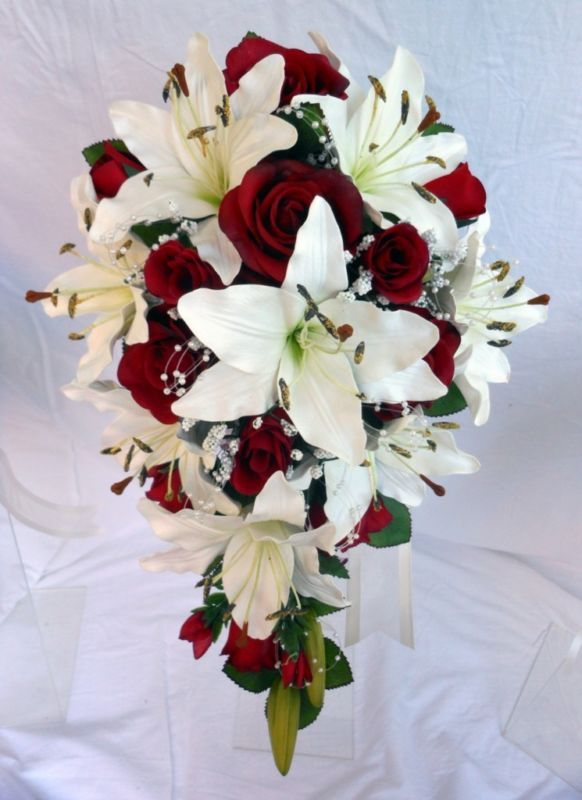 Teardrop Wedding Bouquet, Ivory lillies, Burgundy Roses, Pearl Loops